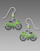 Lime Green Bicycle Earrings