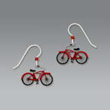 Red Retro Bike Earrings