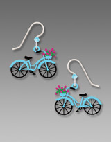 Blue Basket Bicycle Earrings