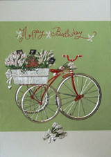 Birthday bicycle planter basket Card
