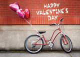 Red Bike Valentines Day Card for her
