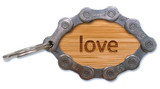 Bamboo LOVE  Bicycle Chain Keyring