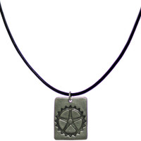 Sterling Silver Rectangle Bicycle Cog Pendant