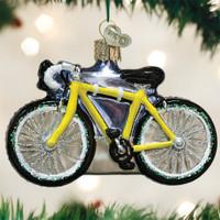 Road Bike Glass Ornament