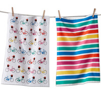 Bright Multi Bicycle Dishtowel Set
