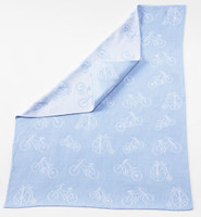 Adorable Knit bicycle baby blanket BLUE