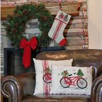 Natural Red Bike Holiday Stocking