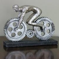 Industrial Gear Cyclist Sculpture