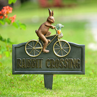 Rabbit Crossing Bicycle Garden Sign