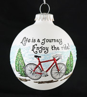 Life is a Journey Bicycle Handpainted Ornament