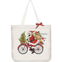 Santa Bicycle Delivery Holiday Canvas Tote
