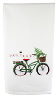 Believe Holiday Bicycle Flour Sack Towel