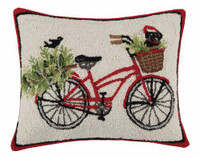 Black Lab Holiday Bike Hook Pillow