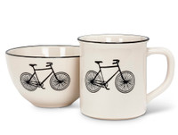 Cream and Black Bicycle Mug