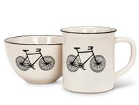 Ivory Black Bicycle Bowl