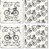 Black and White Bicycle Coaster Set of 4