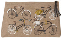 Large Natural Linen Bicycle Cosmetic Bag