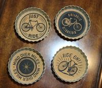 Bottle Cap Bike Design Metal Coaster