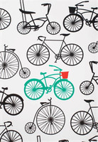 Black Teal Bold Bicycle Oversized Cotton Dishtowel