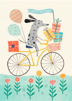 Dog on Bicycle Birthday Card