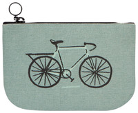 Green Canvas Bicycle Zipper Pouch