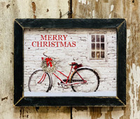 Merry Christmas Rustic Bicycle Framed Art