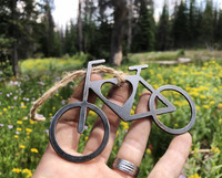 Recycled Rustic Steel Bicycle Heart Ornament
