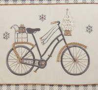 Classy Grey Checked Bicycle Holiday Pillow