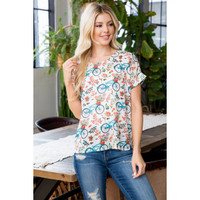 Bicycle Floral  Cream Blouse Top