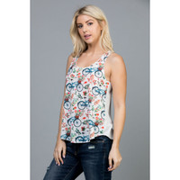 Floral Bicycle Colorful Tank Top