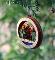 Over The River Bicycle Wood Ornament