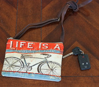 Vintage Beautiful Ride Bicycle Crossbody Zipper Bag