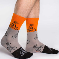 Orange and Beige Dogs on Bike Sock