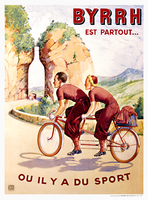 BYRRH Tandem Vintage French Bicycle Poster