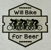 Will Bike for Beer - Stone Washed Green T Color