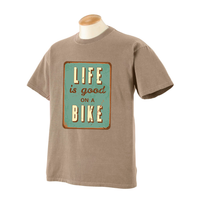 Life is Good on a Bike garment dyed t-shirt