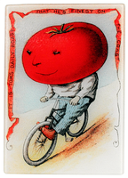 Tomato Rider Vegetable Glass Cutting Board/Cheese Tray