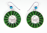 Bicycle Wheel Earrings - Green