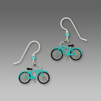 Aqua Retro Bicycle Earrings