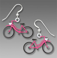 Pink bicycle earrings with white basket