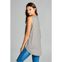 V Neck Grey Bicycles Sleeveless Top