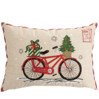 Natural Red Bike Holiday Rectangular Pillow