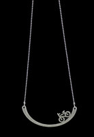 Bike on a Hill Pewter Necklace