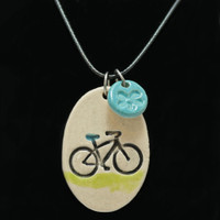 Bicycle Ride Clay Pendant Necklace