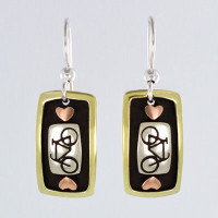 Tri color bicycle earrings with hearts