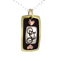 Tri color bicycle necklace with hearts