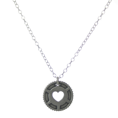 Heart in Cog Sterling Bike Necklace