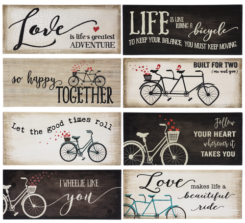 Wood Block Bicycle Signs Assorted
