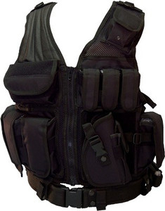 Red Rock Cross Draw Vest Black - 3 Pistol And 3 M4 Mag Pouches