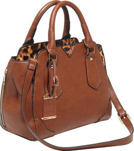 Bulldog Concealed Carry Purse - Satchel Chestnut W/ Leopard Tm